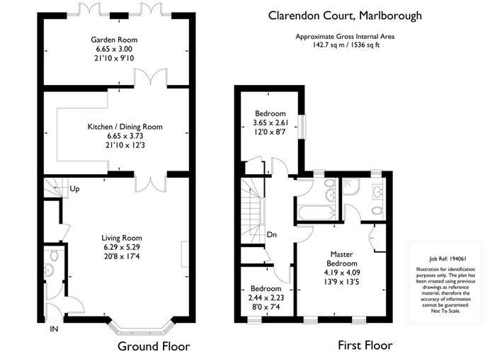 3 Bedroom Terraced House For Sale in Wiltshire for Guide Price 620000 – Marlborough House Floor Plan