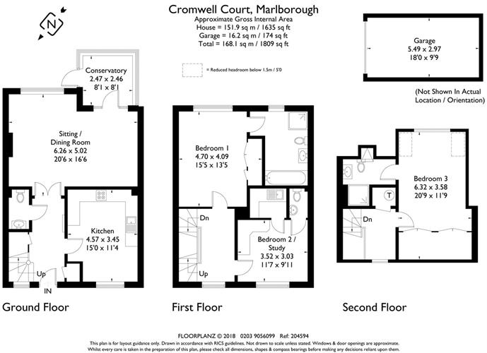3 Bedroom Semi Detached House For Sale in Wiltshire for Guide Price – Marlborough House Floor Plan