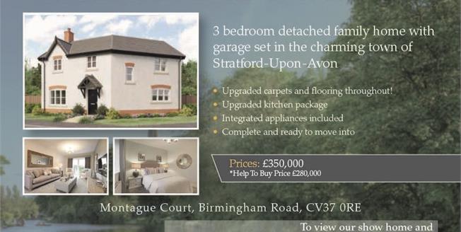 £350,000, 3 Bedroom Detached House For Sale in Stratford-upon-Avon, CV37